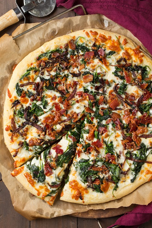 Caramlized Onion Bacon & Spinach Pizza | 25+ Spinach Recipes