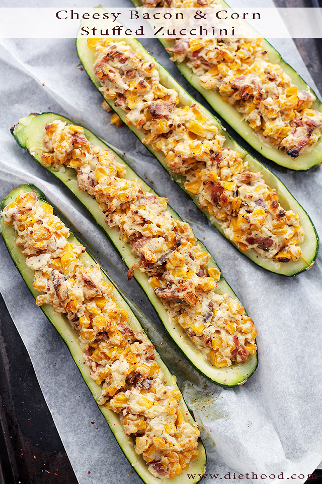 Cheesy Bacon & Corn Stuffed Zucchini | 25+ Cheesy Appetizers and Dips