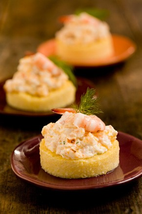 Cheesy shrimp on grits toast | 25+ Cheesy Appetizers and Dips