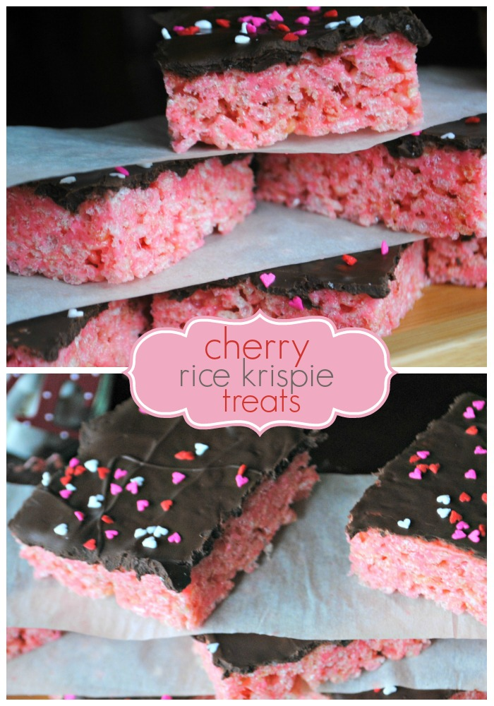 Cherry Rice Krispie Treats with Dark Chocolate | 25+ Rice Krispie Treat Ideas