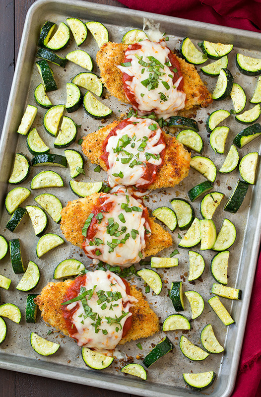 Chicken Parmesan & Roasted Zucchini | 25+ Sheet Pan Dinner Recipes