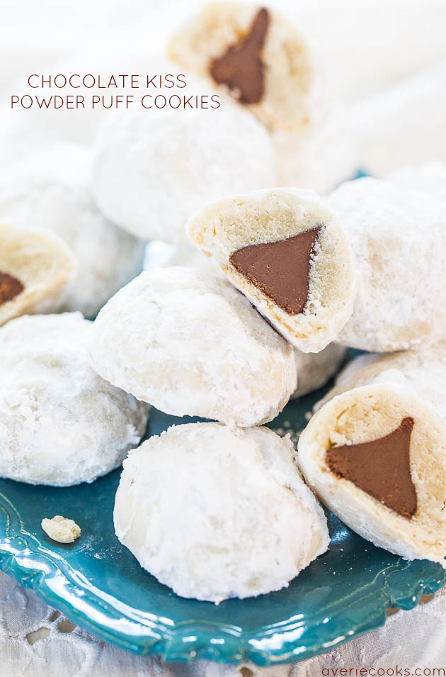 Chocolate Kiss Powder Puff Cookies | 25+ Christmas Cookie Exchange Recipes