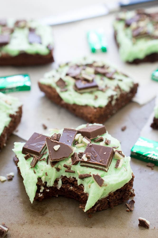 Chocolate Mint Andes Brownies | Top 50 St. Patrick's Day Green Food - have fun with St. Patrick's Day and surprise your family and friends with these fun, festive green recipes!