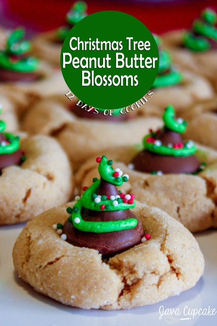 Christmas Tree Peanut Butter Blossoms | 25+ Christmas Cookie Exchange Recipes