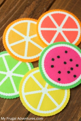 Citrus Perler Bead Coasters Craft | 25+ Summer Crafts for Kids