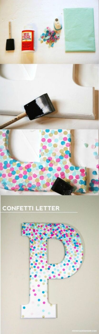 Mod Podge Crafts - Confetti Letters - DIY Modge Podge Ideas On Wood, Glass, Canvases, Fabric, Paper and Mason Jars - How To Make Pictures, Home Decor, Easy Craft Ideas and DIY Wall Art for Beginners - Cute, Cheap Crafty Homemade Gifts for Christmas and Birthday Presents http://diyjoy.com/mod-podge-crafts