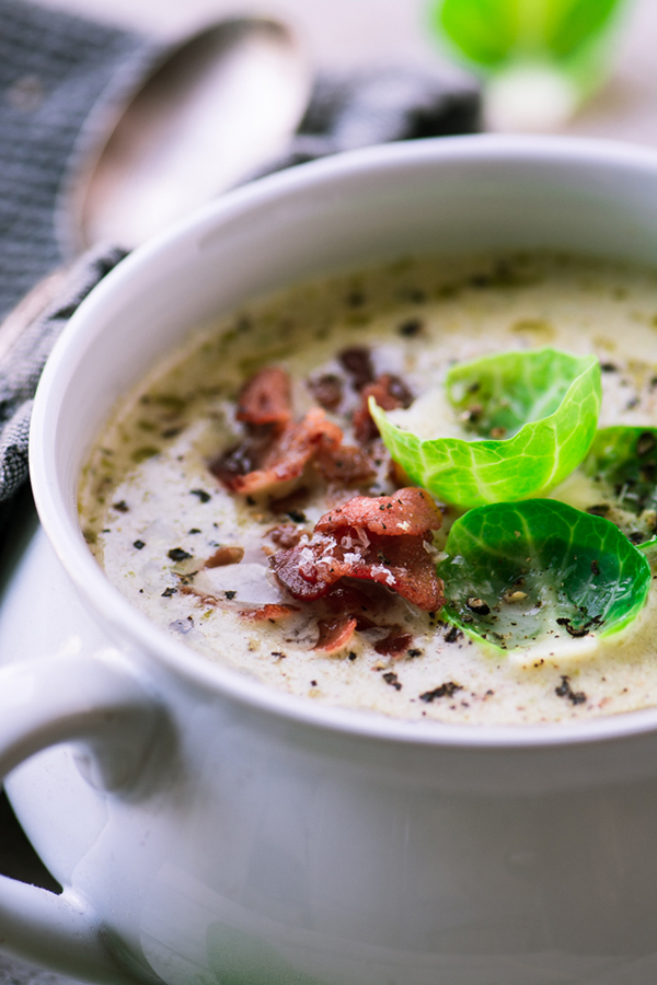 Cream of Brussels Sprout and Bacon Soup | 25+ Brussels Sprout Recipes