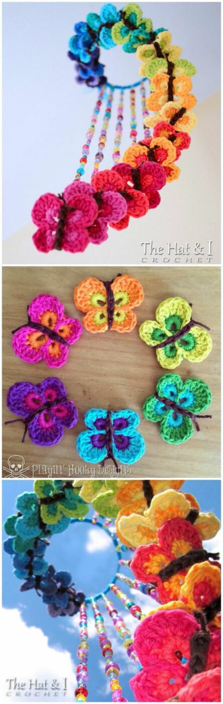 DIY Ideas With Butterflies - Crochet Butterfly Mobile - Cute and Easy DIY Projects for Butterfly Lovers - Wall and Home Decor Projects, Things To Make and Sell on Etsy - Quick Gifts to Make for Friends and Family - Homemade No Sew Projects- Fun Jewelry, Cool Clothes and Accessories http://diyprojectsforteens.com/diy-ideas-butterflies