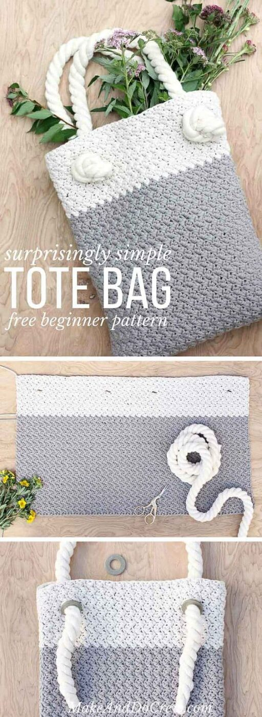 White And Grey Crochet Tote