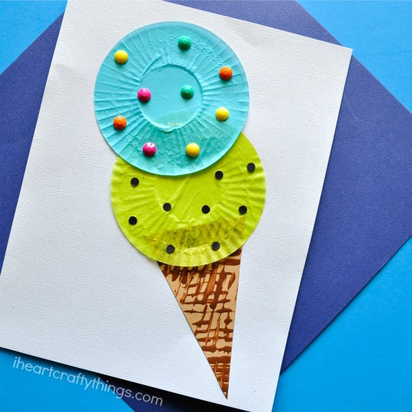 Cupcake Liner Ice Cream Cone Kids Craft | 25+ Summer Crafts for Kids
