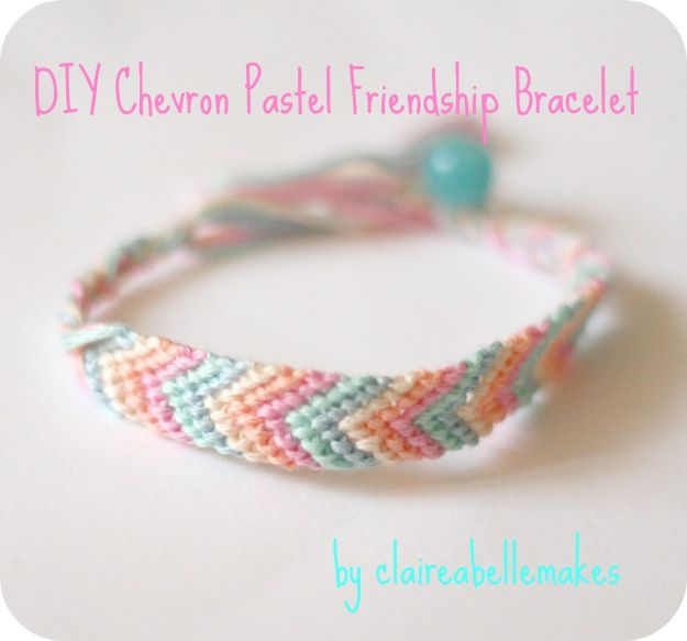 DIY Friendship Bracelets - DIY Chevron Pastel Friendship Bracelet - Woven, Beaded, Leather and String - Cheap Embroidery Thread Ideas - DIY gifts for Teens