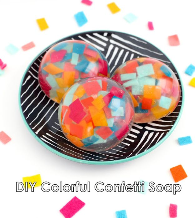 Soap Recipes DIY - DIY Colorful Confetti Soap - DIY Soap Recipe Ideas - Best Soap Tutorials for Soap Making Without Lye - Easy Cold Process Melt and Pour Tips for Beginners - Crockpot, Essential Oils, Homemade Natural Soaps and Products - Creative Crafts and DIY for Teens, Kids and Adults http://diyprojectsforteens.com/cool-soap-recipes