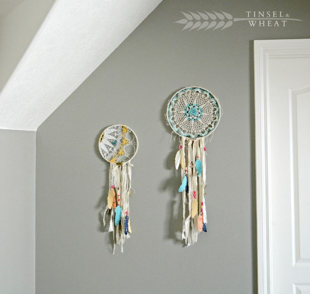 DIY Dream Catchers - DIY Doily Dreamcatcher - How to Make a Dreamcatcher Step by Step Tutorial - Easy Ideas for Dream Catcher for Kids Room - Make a Mobile, Moon Designs, Pattern Ideas, Boho Dreamcatcher With Sticks, Cool Wall Hangings for Teen Rooms - Cheap Home Decor Ideas on A Budget http://diyprojectsforteens.com/diy-dreamcatchers