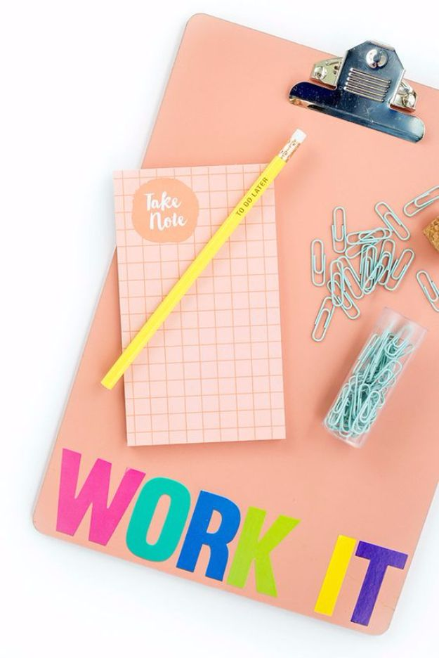 DIY School Supplies - DIY 'Work It' Back-To-School Clipboard - Easy Crafts and Do It Yourself Ideas for Back To School - Pencils, Notebooks, Backpacks and Fun Gear for Going Back To Class - Creative DIY Projects for Cheap School Supplies - Cute Crafts for Teens and Kids http://diyprojectsforteens.com/diy-back-to-school-supplies