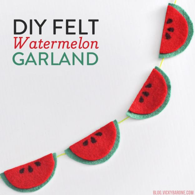 Watermelon Crafts - DIY Felt Watermelon Garland - Easy DIY Ideas With Watermelons - Cute Craft Projects That Make Cool DIY Gifts - Wall Decor, Bedroom Art, Jewelry Idea