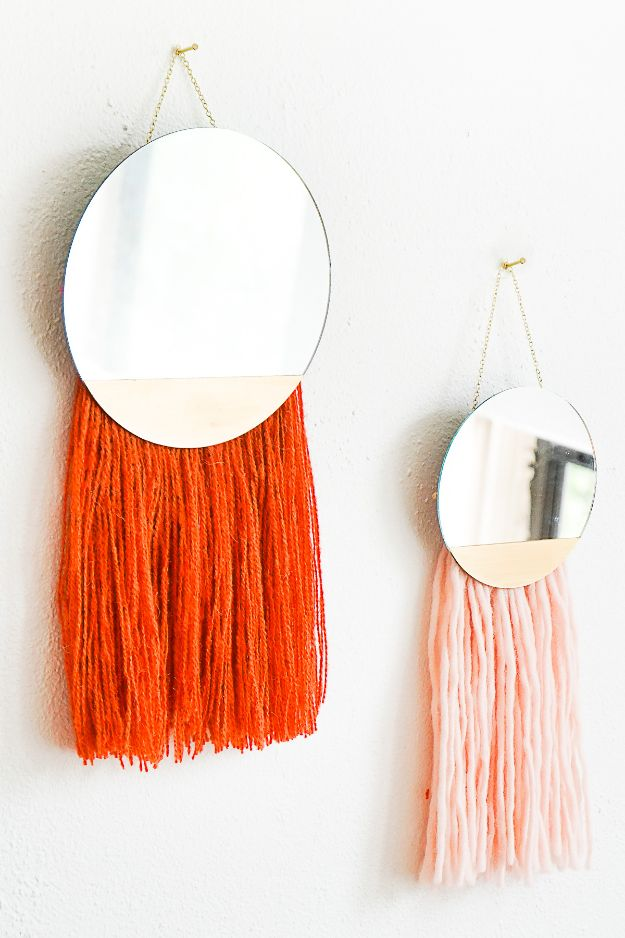 Cheap Wall Decor Ideas - DIY Fringed Mirror Wall Hanging - Cute and Easy Room Decor for Teens - Ideas for Teenager Bedroom Walls - Boys and Girls Room Canvas Wall Art and Decorating #teen #roomdecor #diydecor https://diyprojectsforteens.com/cheap-diy-wall-decor-ideas