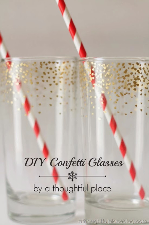 Gold Confetti Dot Glass