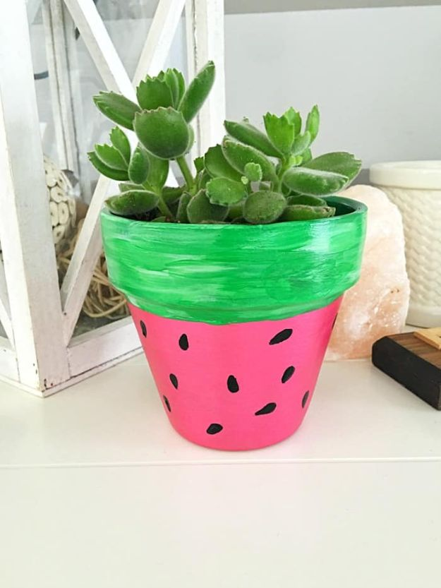 Watermelon Crafts - DIY Handpainted Watermelon Flower Pot - Easy DIY Ideas With Watermelons - Cute Craft Projects That Make Cool DIY Gifts - Wall Decor, Bedroom Art, Jewelry Idea