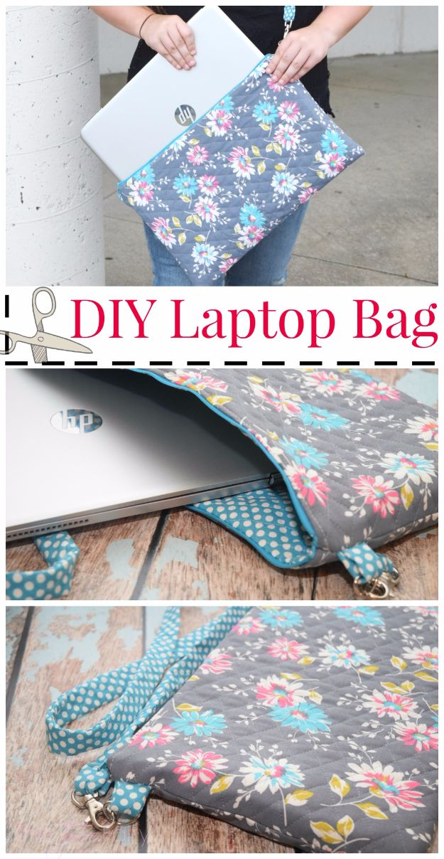 DIY School Supplies - DIY Laptop Bag - Easy Crafts and Do It Yourself Ideas for Back To School - Pencils, Notebooks, Backpacks and Fun Gear for Going Back To Class - Creative DIY Projects for Cheap School Supplies - Cute Crafts for Teens and Kids http://diyprojectsforteens.com/diy-back-to-school-supplies