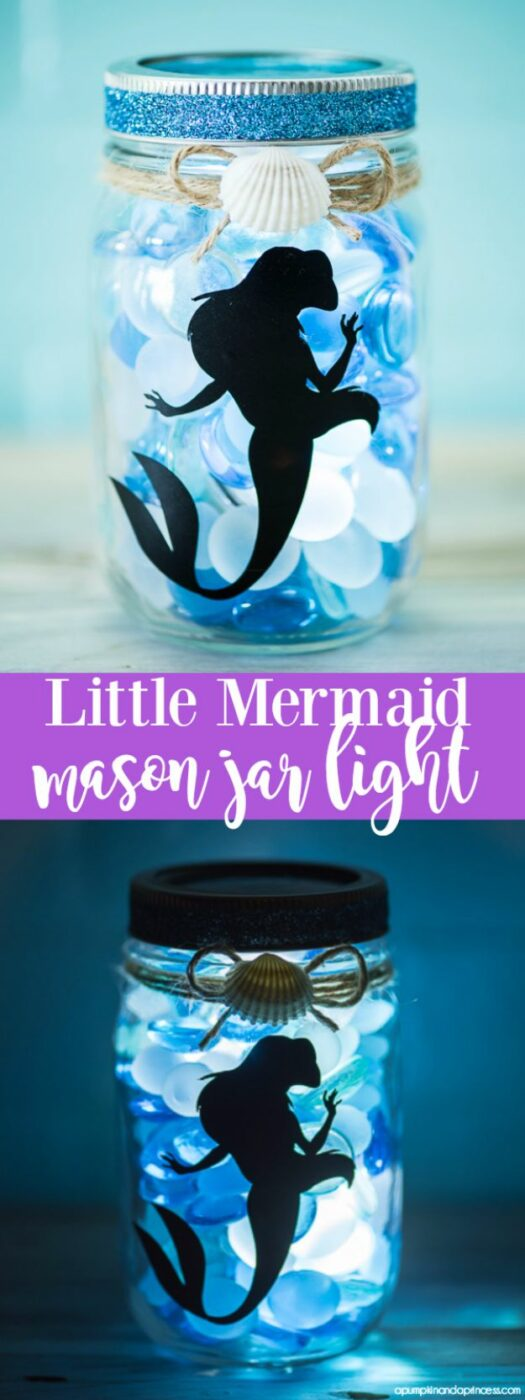 DIY Mermaid Crafts - DIY Little Mermaid Mason Jar Light - How To Make Room Decorations, Art Projects, Jewelry, and Makeup For Kids, Teens and Teenagers - Mermaid Costume Tutorials - Fun Clothes, Pillow Projects, Mermaid Tail Tutorial http://diyprojectsforteens.com/diy-mermaid-crafts