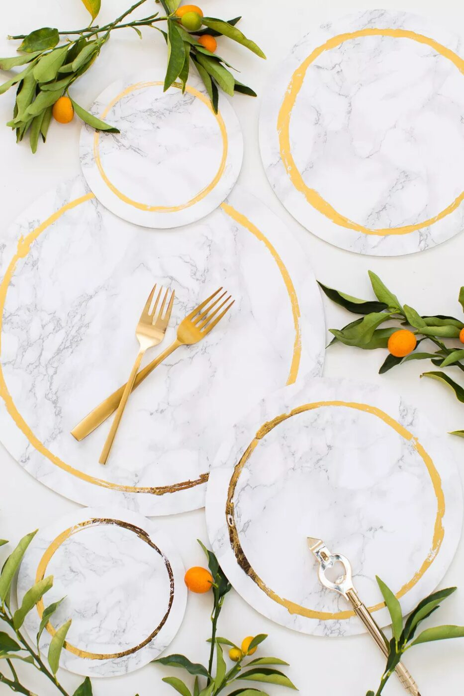 DIY Marble And Gold Plates