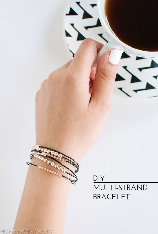 DIY Friendship Bracelets - DIY Multi Strand Bracelet - Woven, Beaded, Leather and String - Cheap Embroidery Thread Ideas - DIY gifts for Teens