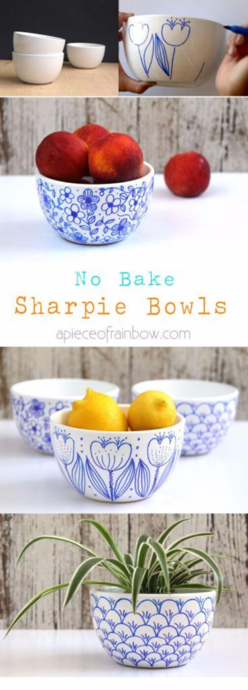 No Bake Sharpie Art Bowls