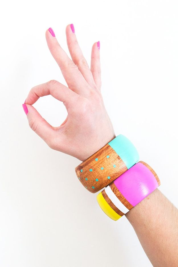 DIY Friendship Bracelets - DIY Painted Wood Bangles - Woven, Beaded, Leather and String - Cheap Embroidery Thread Ideas - DIY gifts for Teens