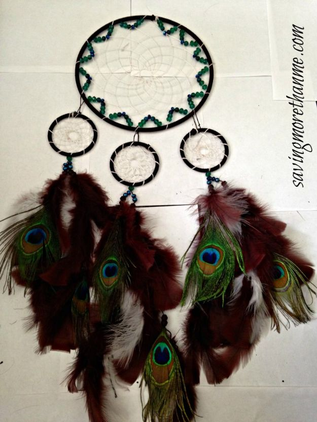 DIY Dream Catchers - DIY Peacock Dreamcatcher - How to Make a Dreamcatcher Step by Step Tutorial - Easy Ideas for Dream Catcher for Kids Room - Make a Mobile, Moon Designs, Pattern Ideas, Boho Dreamcatcher With Sticks, Cool Wall Hangings for Teen Rooms - Cheap Home Decor Ideas on A Budget http://diyprojectsforteens.com/diy-dreamcatchers