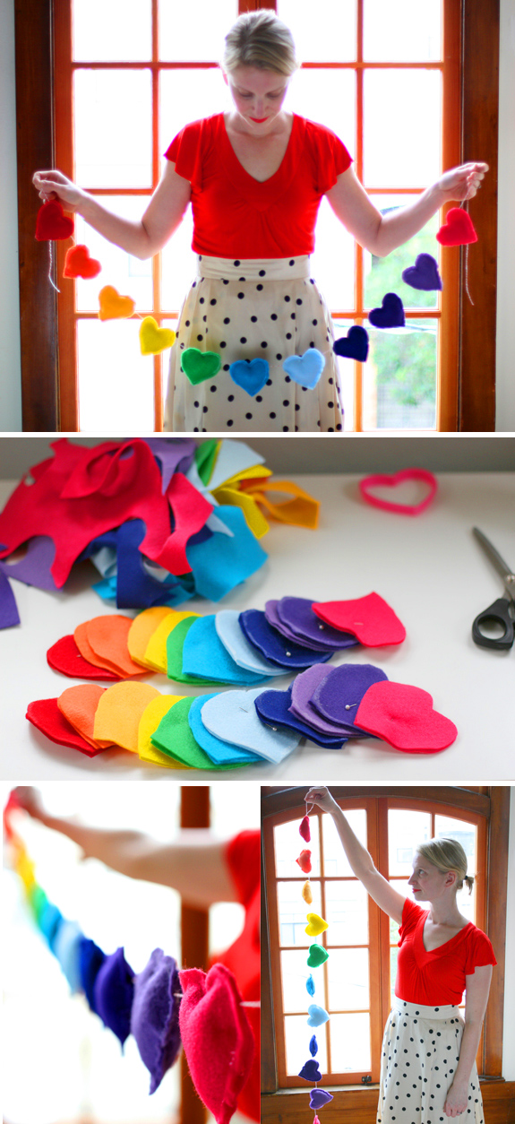DIY Rainbow Heart Banner - 25+ Rainbow crafts, food, gifts and decor - NoBiggie.net