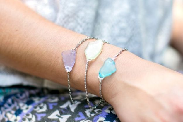 DIY Friendship Bracelets - DIY Sea Glass Bracelet - Woven, Beaded, Leather and String - Cheap Embroidery Thread Ideas - DIY gifts for Teens