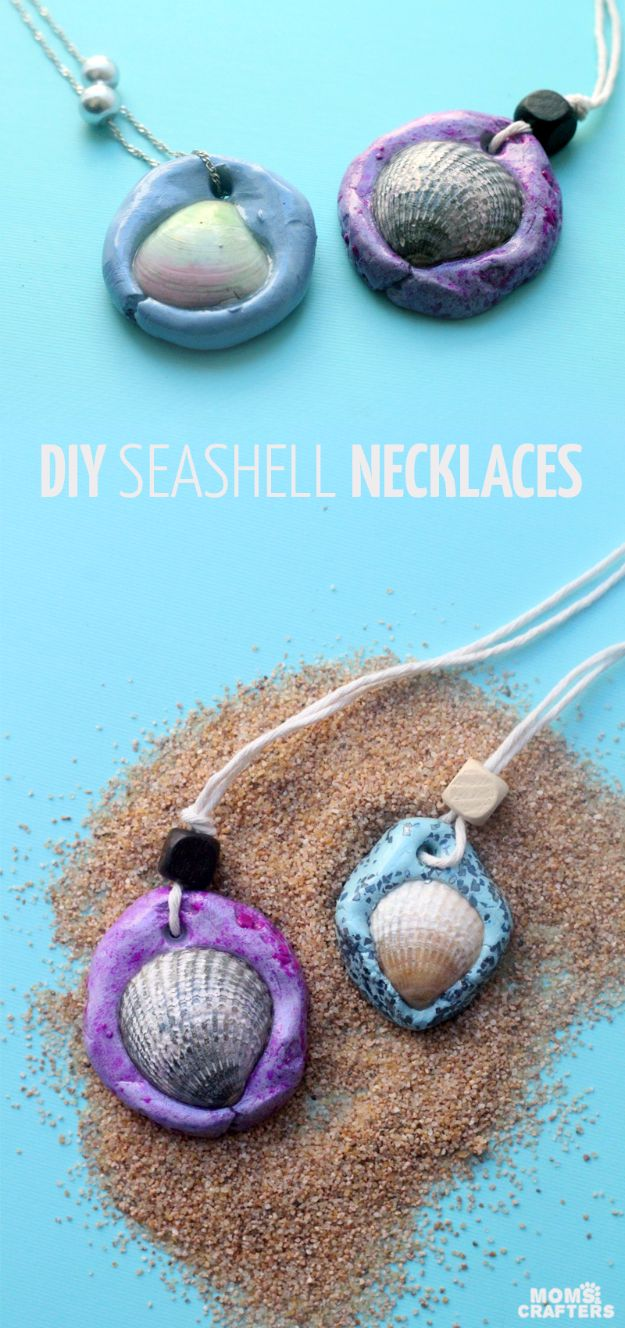 DIY Mermaid Crafts - DIY Seashell Necklaces - How To Make Room Decorations, Art Projects, Jewelry, and Makeup For Kids, Teens and Teenagers - Mermaid Costume Tutorials - Fun Clothes, Pillow Projects, Mermaid Tail Tutorial http://diyprojectsforteens.com/diy-mermaid-crafts