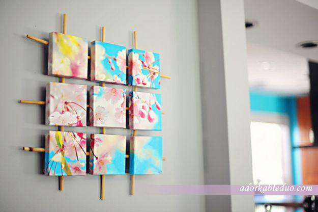Cheap Wall Decor Ideas - DIY Sectioned Canvas Wall Art - Cute and Easy Room Decor for Teens - Ideas for Teenager Bedroom Walls - Boys and Girls Room Canvas Wall Art and Decorating #teen #roomdecor #diydecor https://diyprojectsforteens.com/cheap-diy-wall-decor-ideas