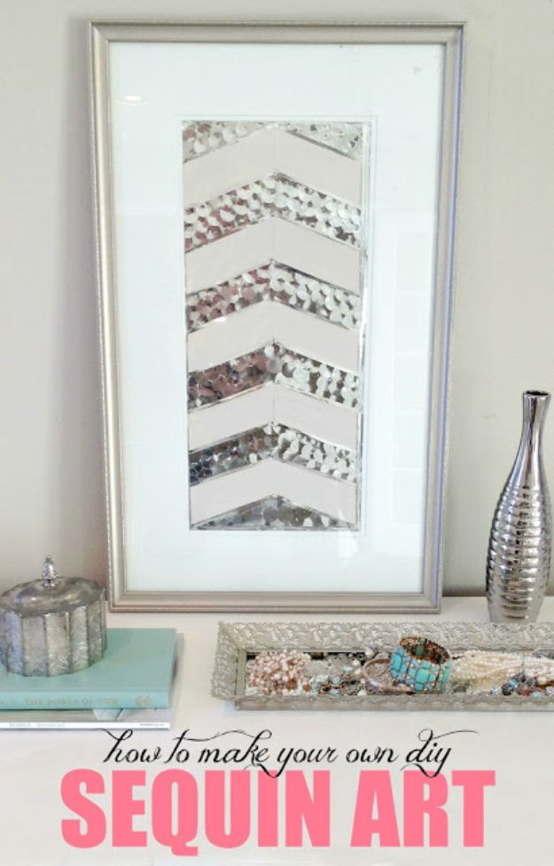 Cheap Wall Decor Ideas - DIY Sequin Art - Cute and Easy Room Decor for Teens - Ideas for Teenager Bedroom Walls - Boys and Girls Room Canvas Wall Art and Decorating #teen #roomdecor #diydecor https://diyprojectsforteens.com/cheap-diy-wall-decor-ideas