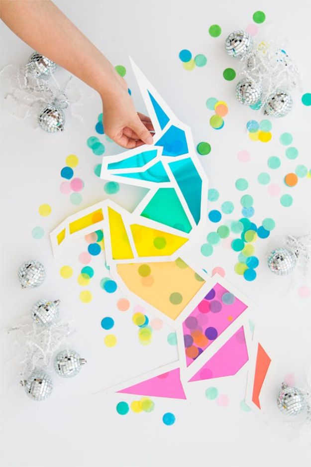 DIY Ideas With Unicorns - DIY Stained Glass Unicorn - Cute and Easy DIY Projects for Unicorn Lovers - Wall and Home Decor Projects, Things To Make and Sell on Etsy - Quick Gifts to Make for Friends and Family - Homemade No Sew Projects and Pillows - Fun Jewelry, Desk Decor Cool Clothes and Accessories http://diyprojectsforteens.com/diy-ideas-unicorns