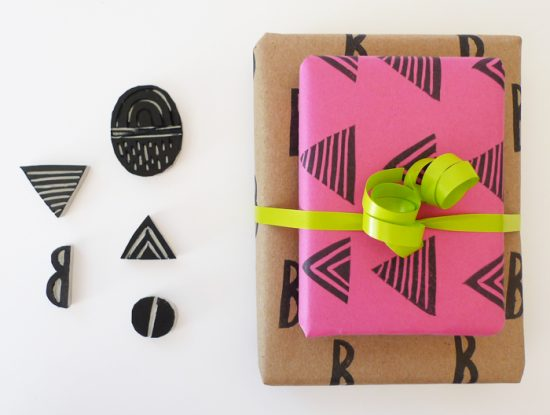 DIY Stamped Gift Wrap | 25+ Creative Gift Wrap Ideas