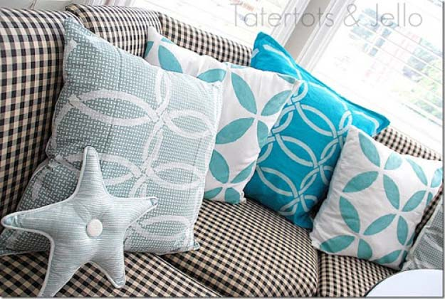 Stenciled Napkin DIY Pillows