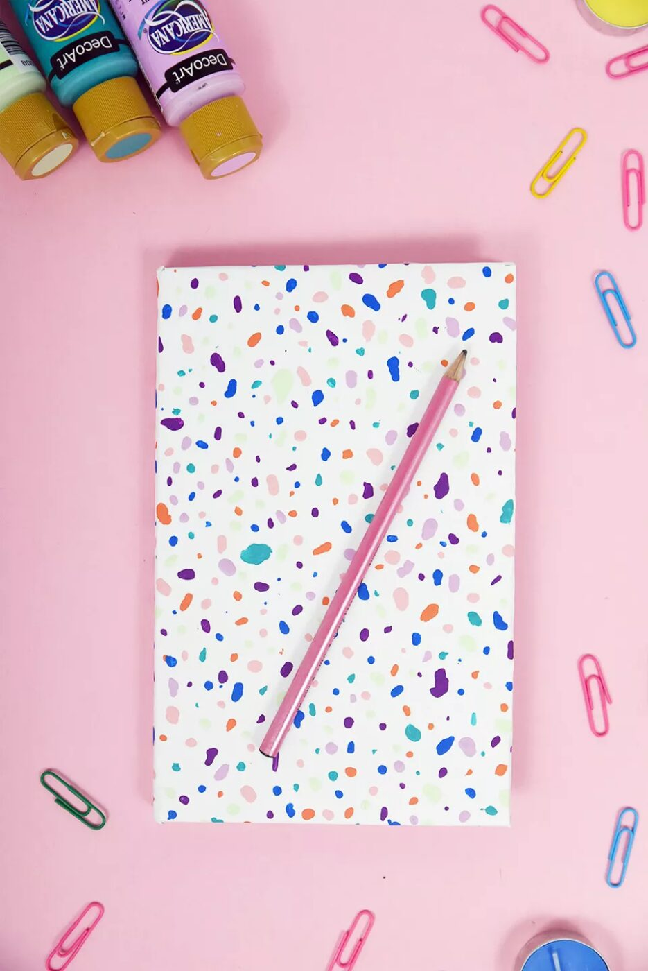 terazzo style decorated notebook