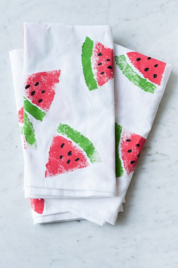 Watermelon Crafts - DIY Watermelon Print Napkins - Easy DIY Ideas With Watermelons - Cute Craft Projects That Make Cool DIY Gifts - Wall Decor, Bedroom Art, Jewelry Idea