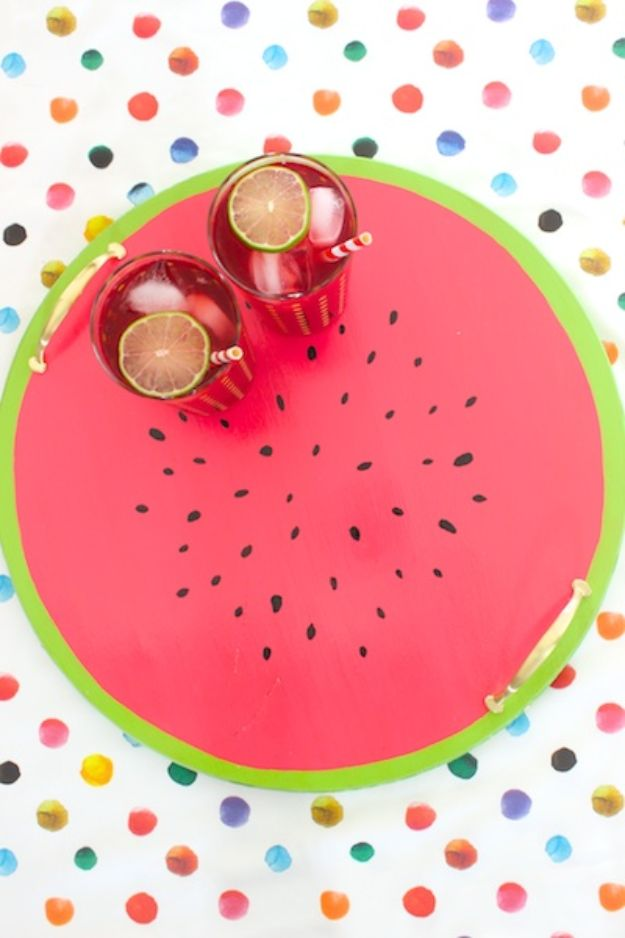 Watermelon Crafts - DIY Watermelon Serving Tray - Easy DIY Ideas With Watermelons - Cute Craft Projects That Make Cool DIY Gifts - Wall Decor, Bedroom Art, Jewelry Idea