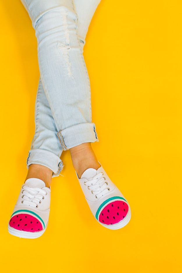 Watermelon Crafts - DIY Watermelon Sneakers - Easy DIY Ideas With Watermelons - Cute Craft Projects That Make Cool DIY Gifts - Wall Decor, Bedroom Art, Jewelry Idea