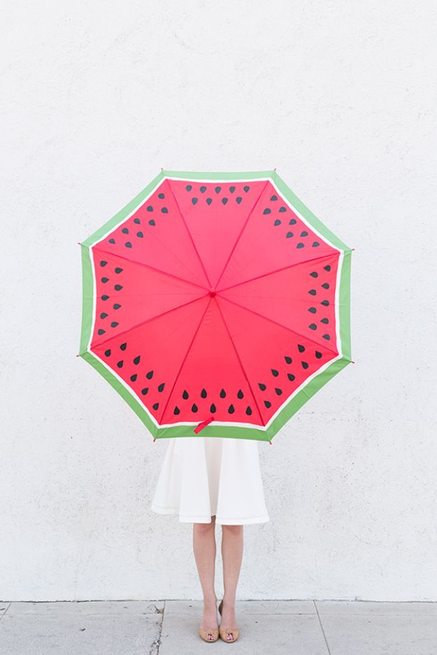 Watermelon Crafts - DIY Watermelon Umbrella - Easy DIY Ideas With Watermelons - Cute Craft Projects That Make Cool DIY Gifts - Wall Decor, Bedroom Art, Jewelry Idea