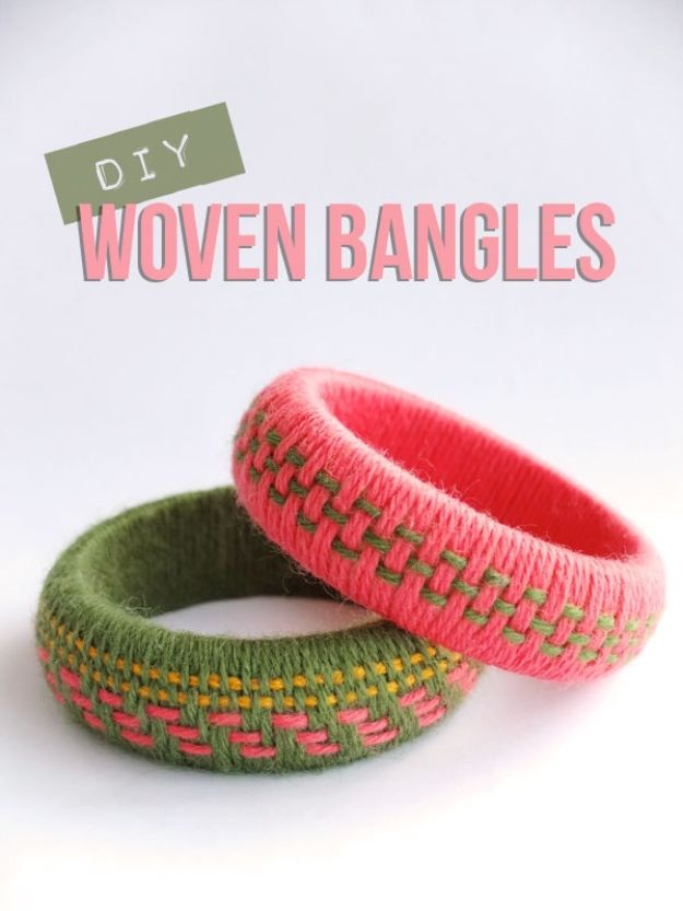 DIY Friendship Bracelets - DIY Woven Yarn Bangles - Woven, Beaded, Leather and String - Cheap Embroidery Thread Ideas - DIY gifts for Teens