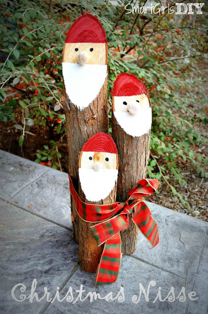 Danish Nisse Santa Logs | 25+ easy DIY Christmas decor