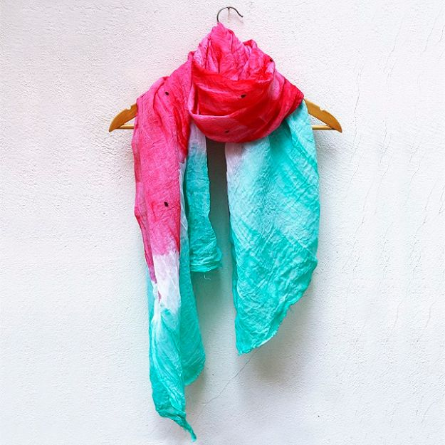 Watermelon Crafts - Dip Dyed Watermelon Scarves - Easy DIY Ideas With Watermelons - Cute Craft Projects That Make Cool DIY Gifts - Wall Decor, Bedroom Art, Jewelry Idea