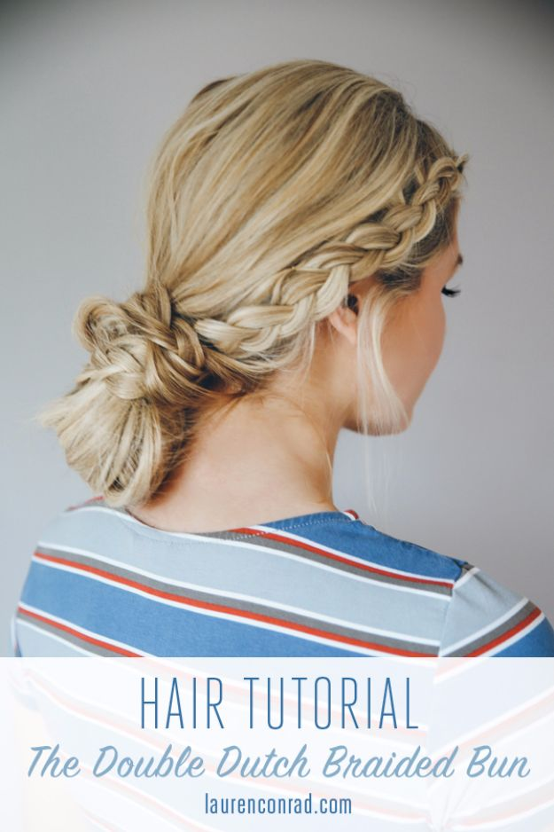 Easy Braids With Tutorials - Double Dutch Braid Bun - Cute Braiding Tutorials for Teens, Girls and Women - Easy Step by Step Braid Ideas - Quick Hairstyles for School - Creative Braids for Teenagers - Tutorial and Instructions for Hair Braiding http://diyprojectsforteens.com/easy-braids-tutorials