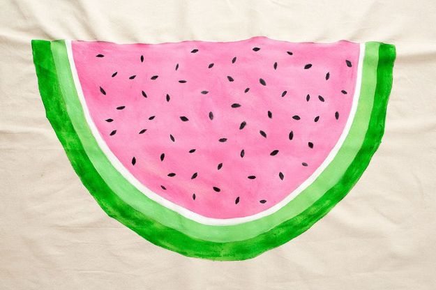 Watermelon Crafts - Drop Cloth Picnic Blanket - Easy DIY Ideas With Watermelons - Cute Craft Projects That Make Cool DIY Gifts - Wall Decor, Bedroom Art, Jewelry Idea