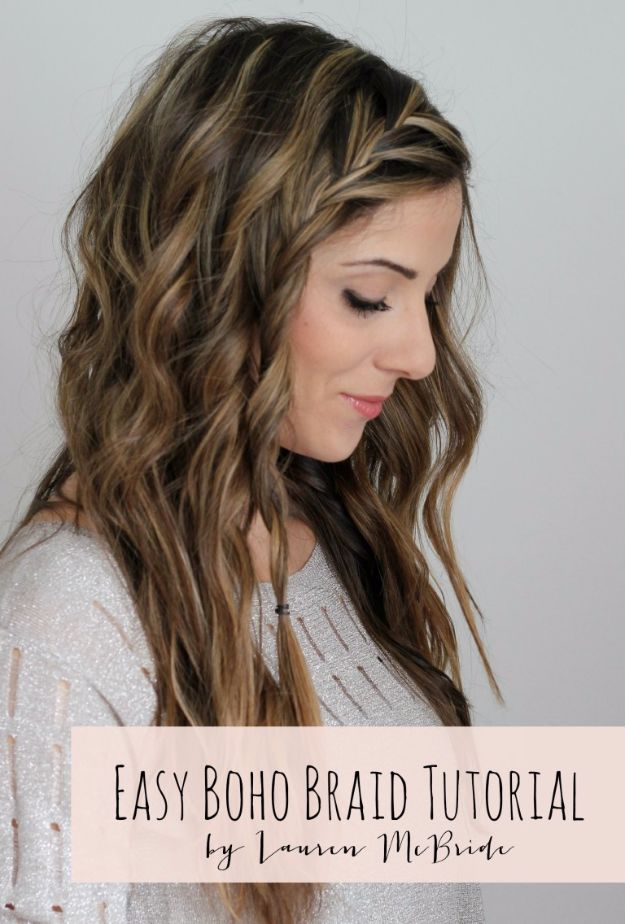 Easy Braids With Tutorials - Easy Boho Braid - Cute Braiding Tutorials for Teens, Girls and Women - Easy Step by Step Braid Ideas - Quick Hairstyles for School - Creative Braids for Teenagers - Tutorial and Instructions for Hair Braiding http://diyprojectsforteens.com/easy-braids-tutorials