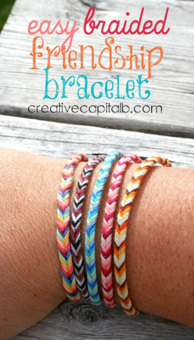 DIY Friendship Bracelets - Easy Braided Chevron Friendship Bracelet - Woven, Beaded, Leather and String - Cheap Embroidery Thread Ideas - DIY gifts for Teens