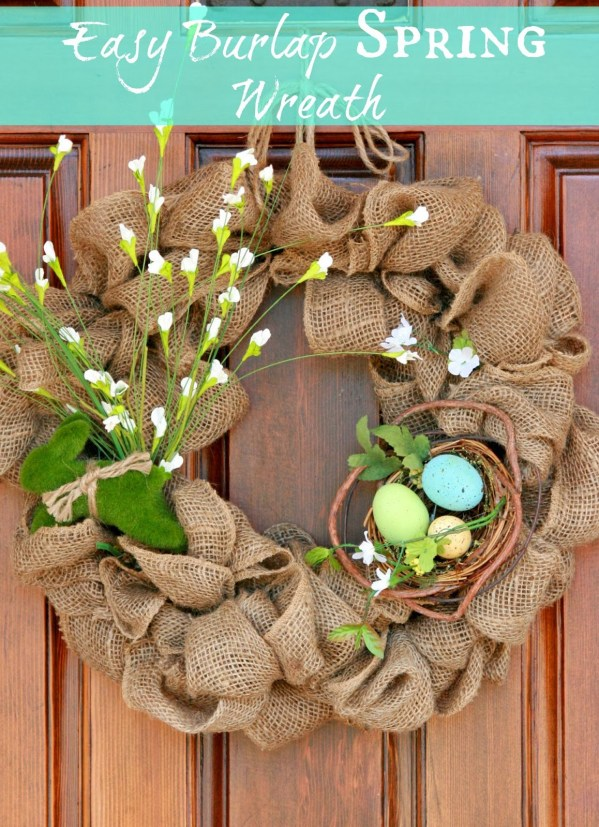Easy Burlap Spring Wreath with nest | 25+ Spring wreaths